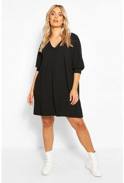 Black Plus Puff Sleeve Rib Smock Dress