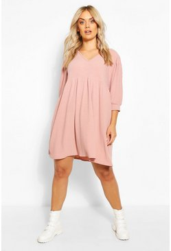 Soft pink Plus Puff Sleeve Rib Smock Dress