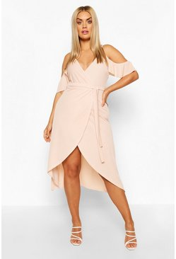Blush pink Plus Cold Shoulder Wrap Midaxi Dress