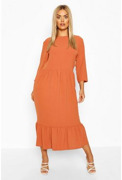 Rust orange Plus Linen Look Ruffle Tiered Midi Dress