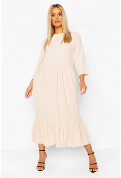 Stone beige Plus Linen Look Ruffle Tiered Midi Dress