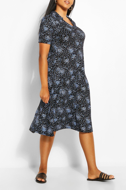 Plus Collar Detail Midi Dress 7