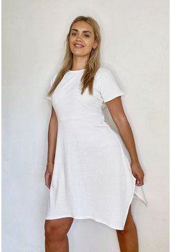Ivory Plus Soft Rib Hanky Hem Skater Dress