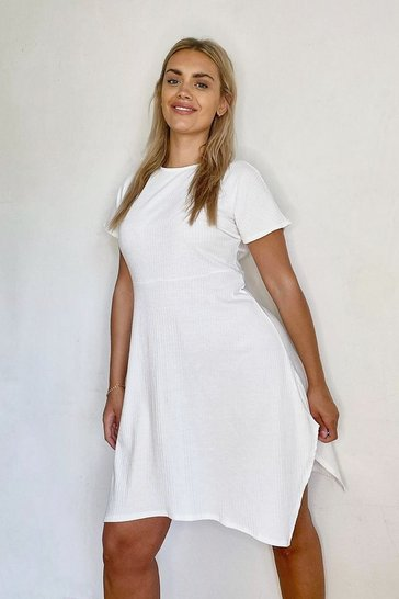 Ivory white Plus Soft Rib Hanky Hem Skater Dress