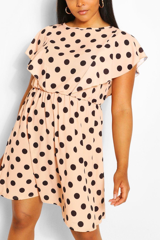 Plus Polka Dot Ruffle Skater Dress 9