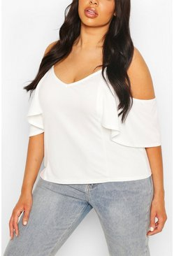 Ivory white Plus Cold Shoulder Cami