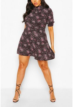 Black Plus Ditsy Floral High Neck Skater Dress