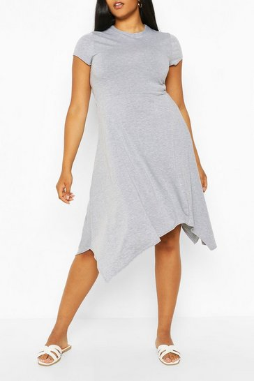Grey marl grey Plus Short Sleeve Hanky Hem Midi Dress