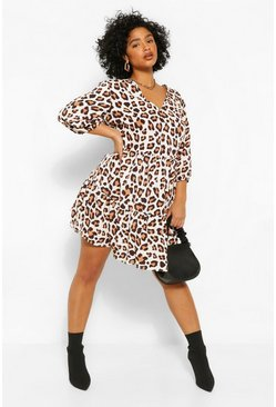 Brown Plus Leopard Ruffle Tiered Smock Dress