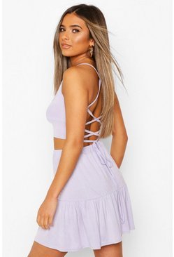 Lilac purple Petite Strappy Back Crop Top
