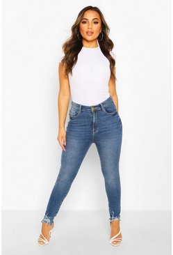 Mid blue Petite Frayed Hem Distressed Skinny Jeans