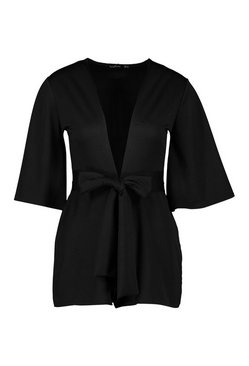 Black Petite Plunge Tie Detail Playsuit
