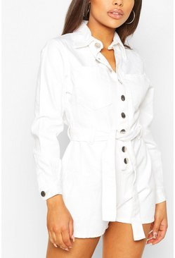 White Petite Light Wash Denim Playsuit