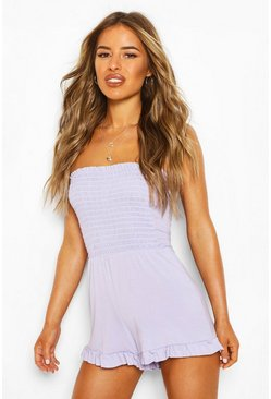 Lilac purple Petite Shirred Bandeau Playsuit
