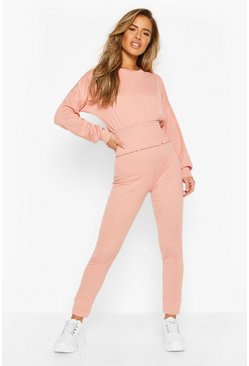 Rose pink pink Petite Rib Shirred Waist Top & Legging Co-Ord