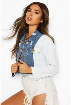 Blue Petite Block Distressed Cropped Jacket