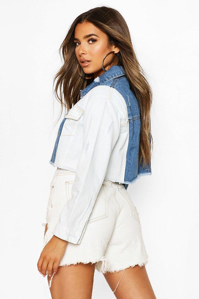 Sliten jeansjacka i kort modell | boohoo SE