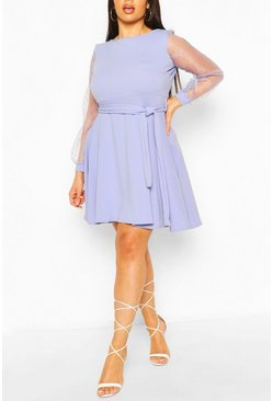 Sky blue Plus Dobby Organza Tie Belt Skater Dress
