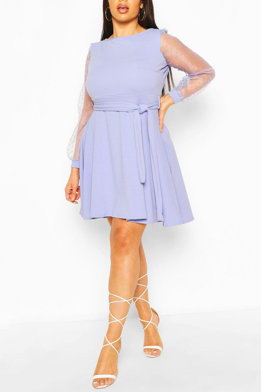 Plus Dobby Organza Tie Belt Skater Dress 6