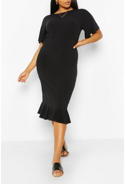 Black Plus Soft Rib Ruffle Hem Midi Dress
