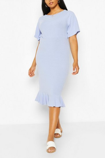Blue Plus Soft Rib Ruffle Hem Midi Dress
