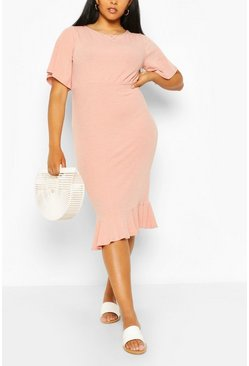 Blush pink Plus Soft Rib Ruffle Hem Midi Dress