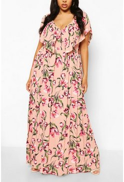 Pink Plus Floral Ruffle Maxi Dress