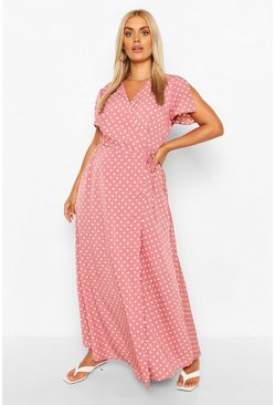 Pink Plus Polka Dot Wrap Maxi Dress
