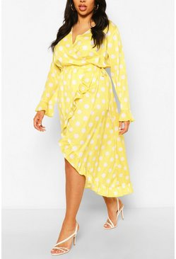 Chartreuse yellow Plus Polka Dot Ruffle Wrap Midi Dress