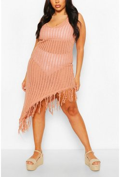 Paprika red Plus Asymmetric Crochet Beach Dress