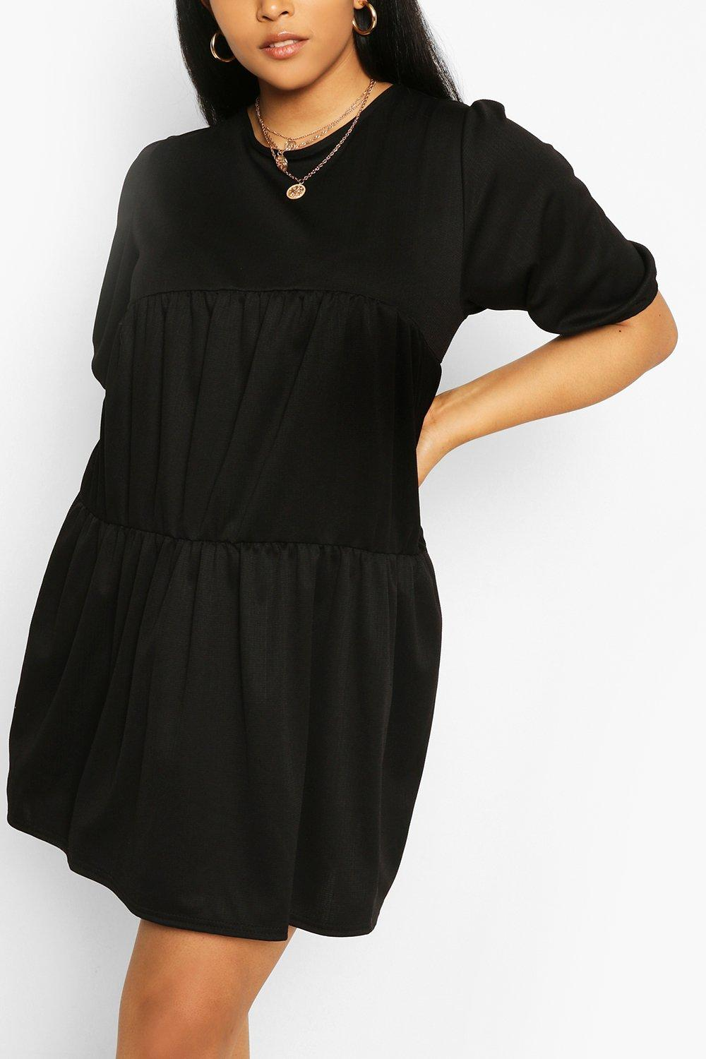 Plus Cheesecloth Tiered Smock Dress 8