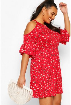 Red röd Plus Open Shoulder Ruffle Smock Dress