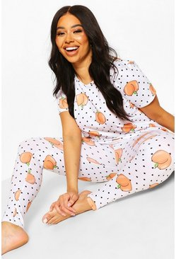 White Plus Peachy Pj Pants Set