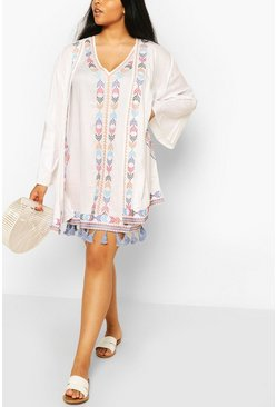White Plus Embroidered Tassel Kimono