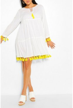 White Plus Tassel Beach Smock Dress