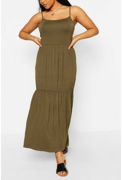 Khaki Plus Tiered Strappy Maxi Dress