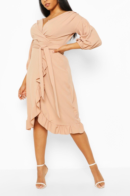 Plus Ruffle Wrap Tie Waist Midi Dress 8