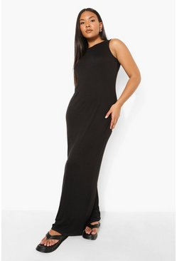 Black Plus Racer Neck Jersey Maxi Dress