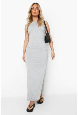 Grey marl grey Plus Racer Neck Jersey Maxi Dress