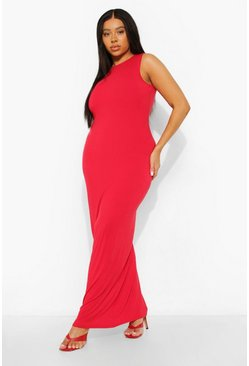 Red Plus Racer Neck Jersey Maxi Dress