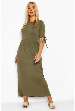 Khaki Plus Tie Sleeve Jersey Maxi Dress