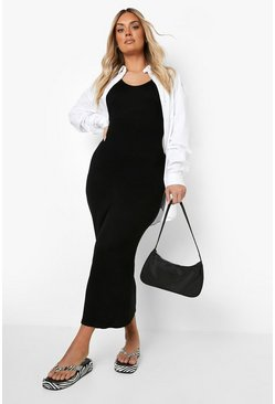 Black Plus Scoop Neck Jersey Maxi Dress