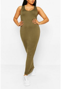 Khaki Plus Scoop Neck Jersey Maxi Dress