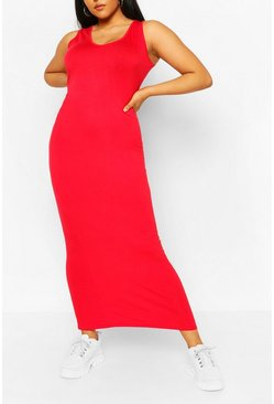 Red Plus Scoop Neck Jersey Maxi Dress