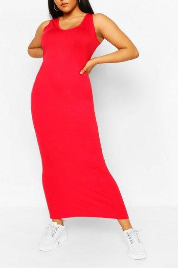 Red Plus Scoop Neck Jersey Maxi Dress