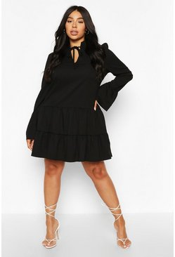 Black Plus Linen Tiered Ruffle Smock Dress