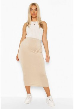 Stone beige Plus Tube Midaxi Skirt
