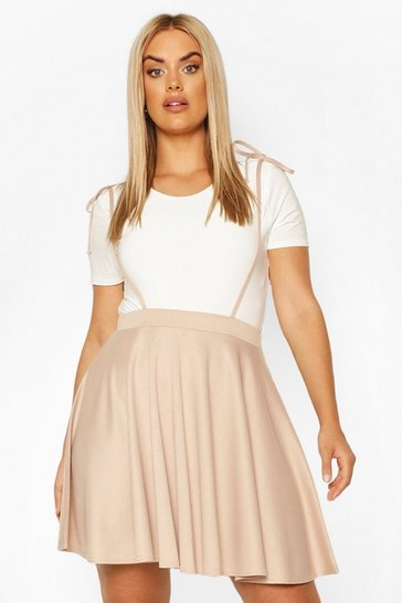 Stone beige Plus Spaghetti Bow Strap Pinafore Skirt