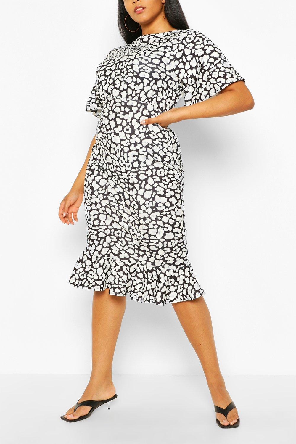 Plus Leopard Ruffle Hem Midi Dress 11
