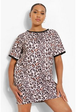 Brown Plus Leopard Ringer T-shirt Dress